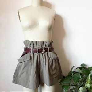 Light Olive Crepe Paperbag shorts